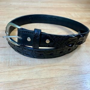 Crocodile Leather Belt Australian Horn Back Black